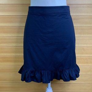 J. Crew Navy Ruffle Hem Pencil Skirt